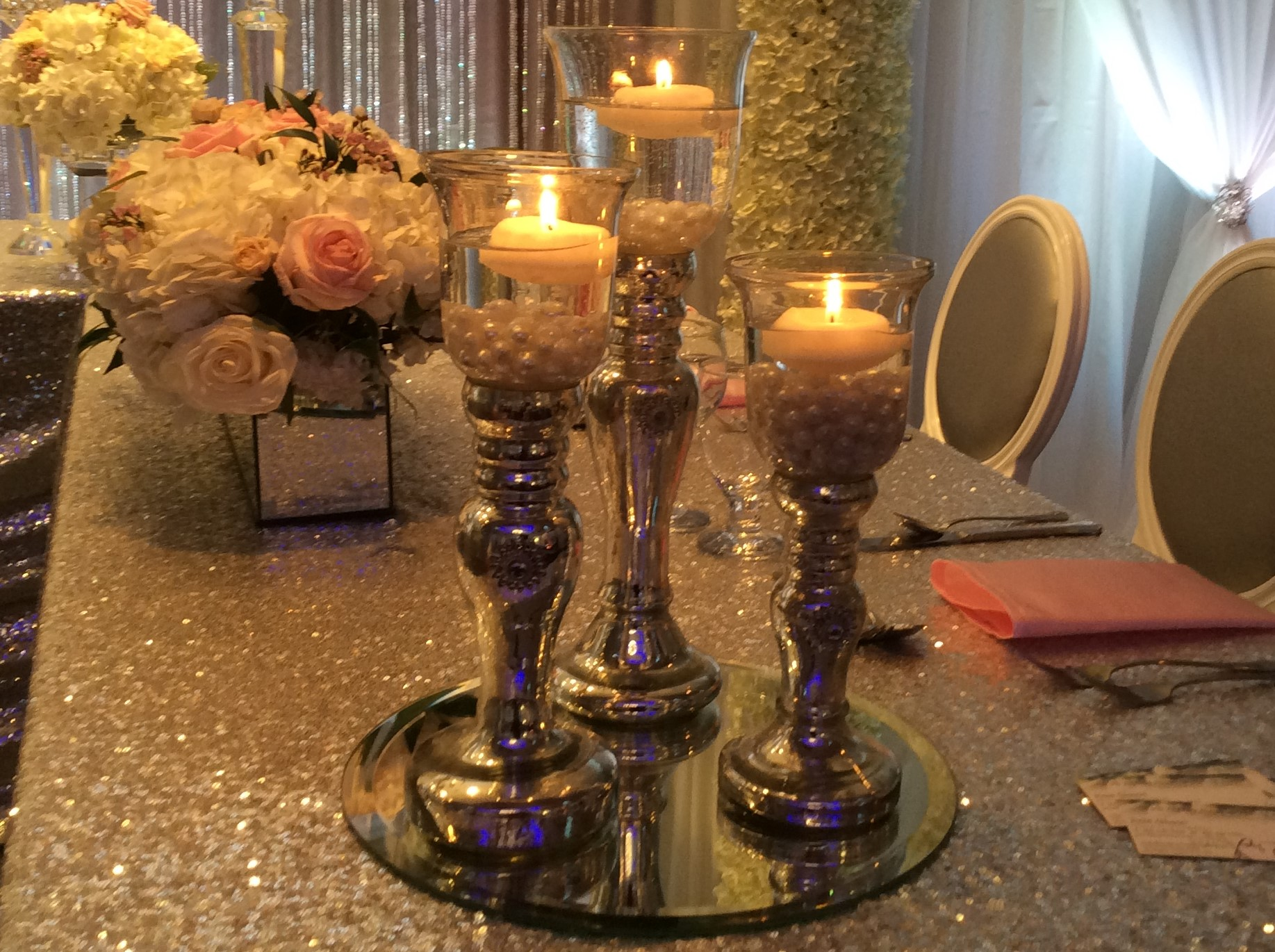 mercury glass candle set with mirror