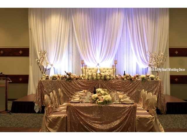 gold sequin head table