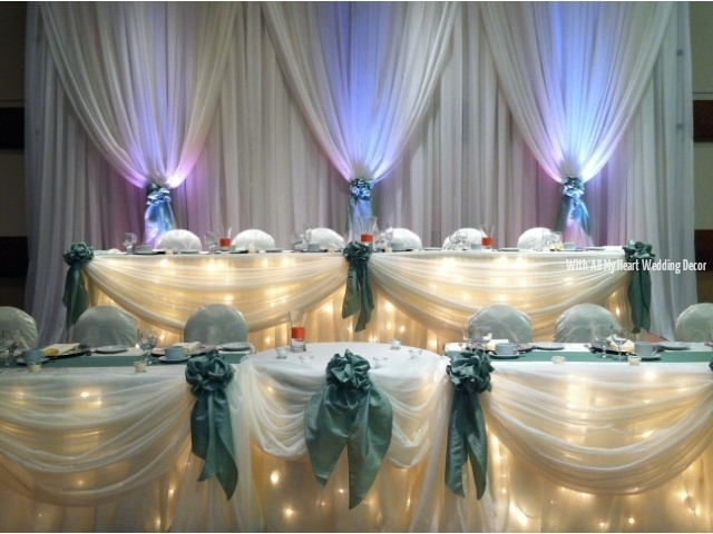 head table with sheer backdrop