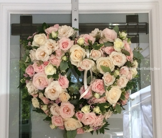 Rose heart door floral