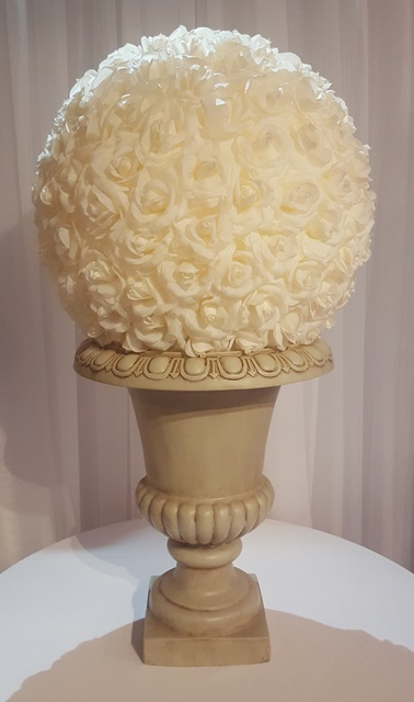 Beige Urn and Rose Ball