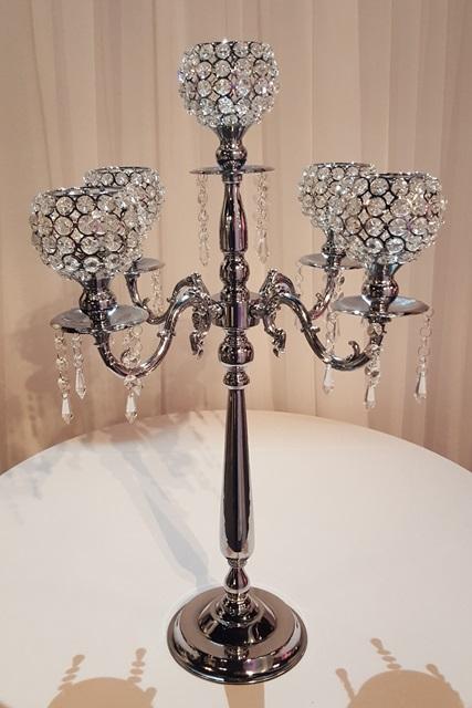 Silver Crystal Globe Candelabra