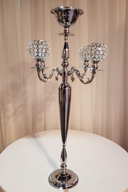 Silver Tall Crystal Globe Candelabra