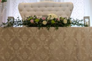 vintage lace head table love seat