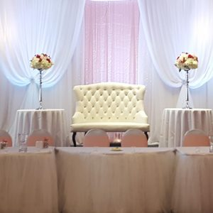 white love seat bridal